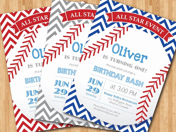 Baseball Invitation Template Free Unique Baseball Birthday Invitation First Birthday Baby Boy Chevron