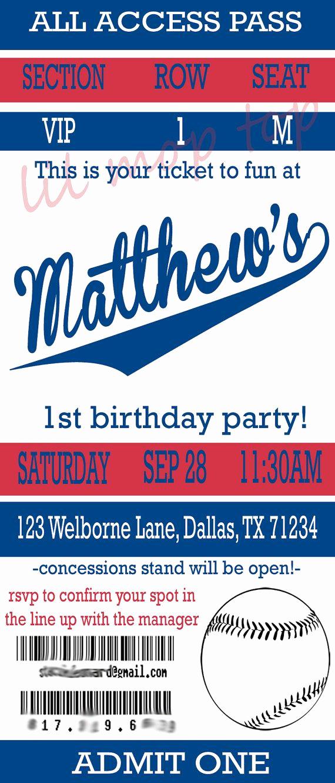 Baseball Ticket Invitation Template Free Awesome Baseball Ticket Invitation for Birthday or Baby Shower