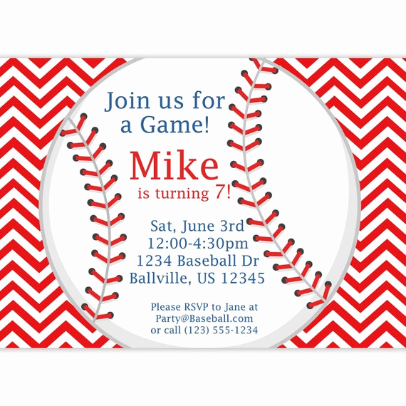 Baseball Ticket Invitation Template Free Best Of Baseball Invitation Red Stripe Chevron Baseball Ball