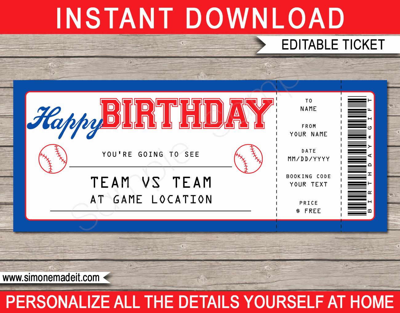 Baseball Ticket Invitation Template Free Inspirational Baseball Game Birthday Gift Ticket