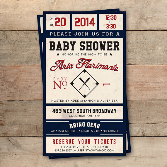 Baseball Ticket Invitation Template Free Inspirational Vintage Baseball Ticket Baby Shower Invitation Personalized