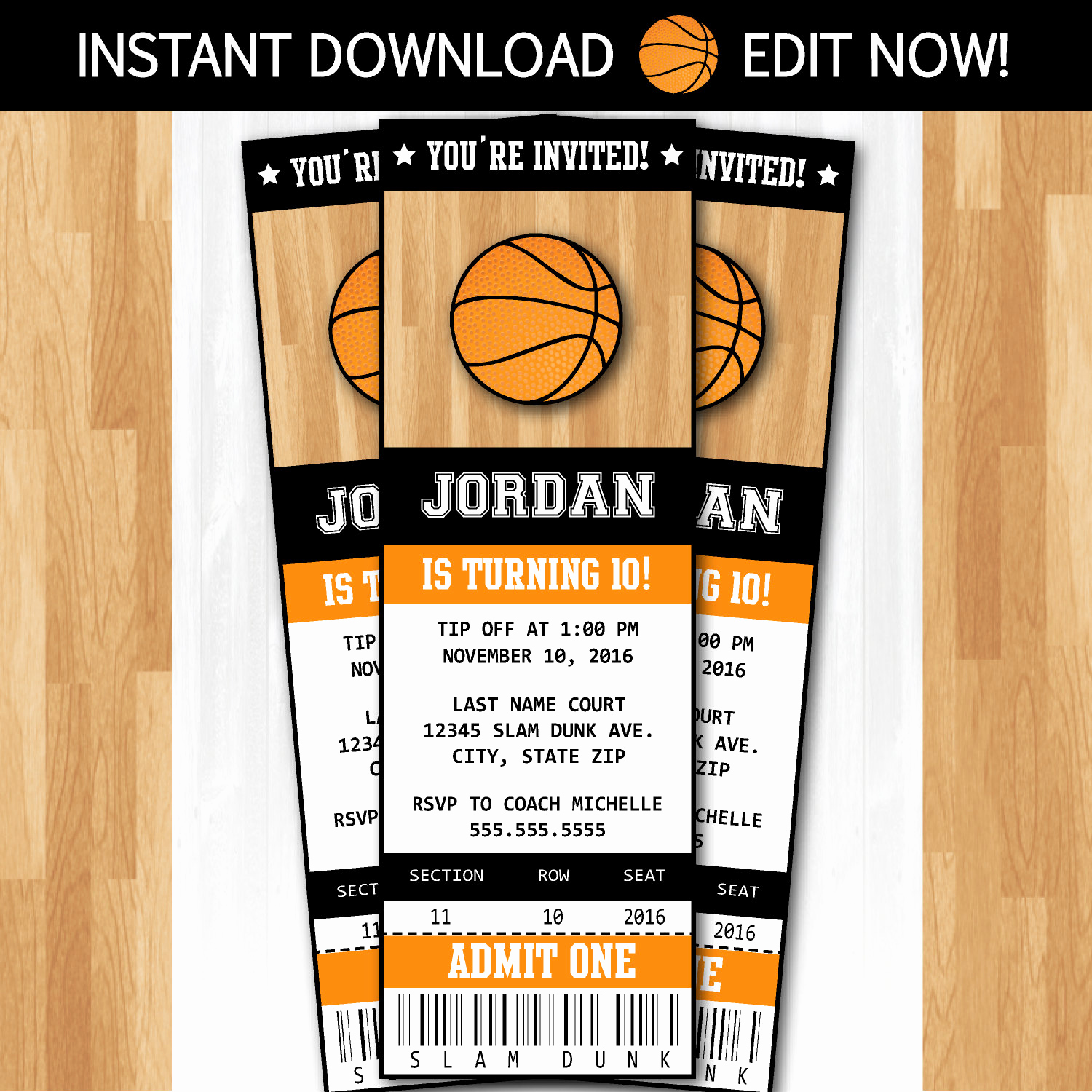 Basketball Ticket Invitation Template Awesome Basketball Invitations Diy Instantly Downloadable and