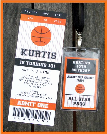 Basketball Ticket Invitation Template Beautiful Basketball Ticket Invitation & Printable Party Collection