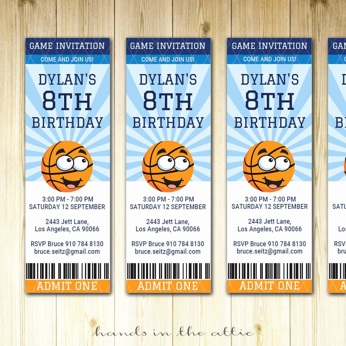 Basketball Ticket Invitation Template Beautiful Basketball Ticket Invitation Printable Template