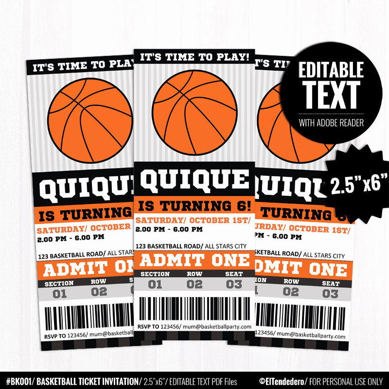 basketball ticket invitation basketball