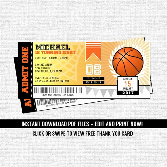 Basketball Ticket Invitation Template Best Of Basketball Ticket Invitations Birthday Party Instant
