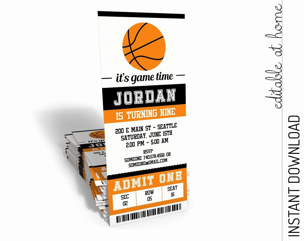 Basketball Ticket Invitation Template Elegant Basketball Invitation Basketball Birthday Invitation