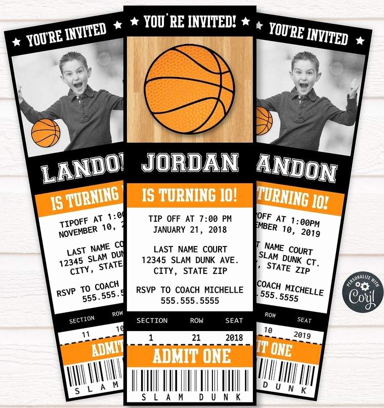 Basketball Ticket Invitation Template Free Awesome Free Printable Basketball Ticket Invitation Template