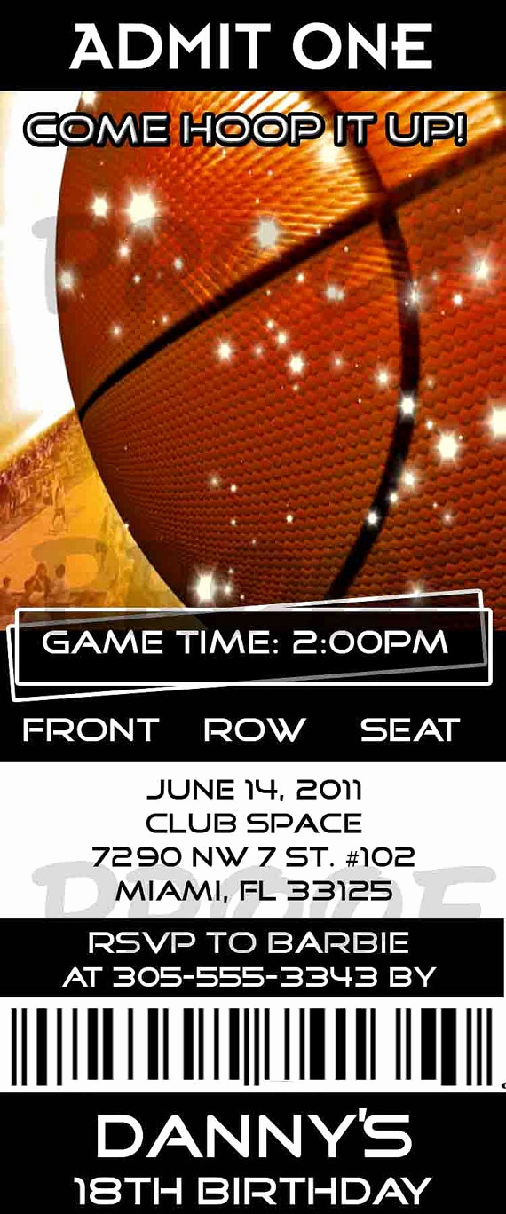 Basketball Ticket Invitation Template Free Beautiful Birthday Basketball Sports Ticket by Creationsbyveronica