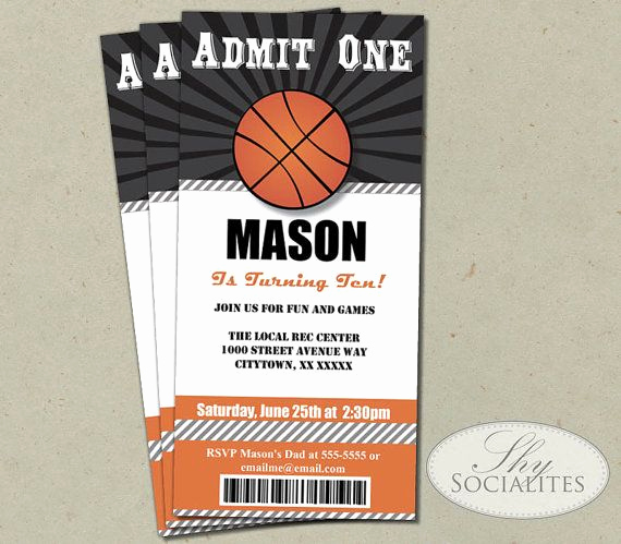 Basketball Ticket Invitation Template Free Best Of Basketball Ticket Invitation