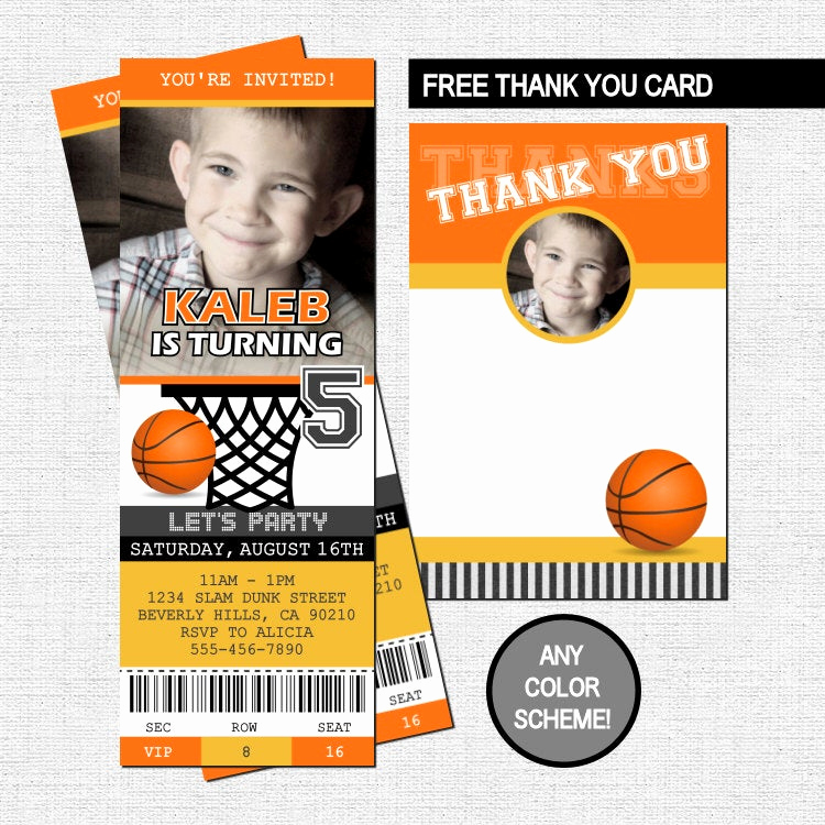 Basketball Ticket Invitation Template Free Best Of Basketball Ticket Invitations Birthday Party Thank You Card