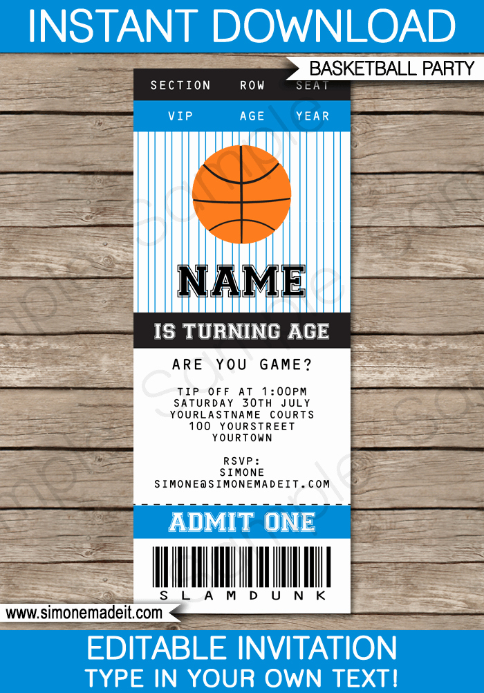 Basketball Ticket Invitation Template Free Best Of Black and Blue Basketball Party Ticket Invitation Template