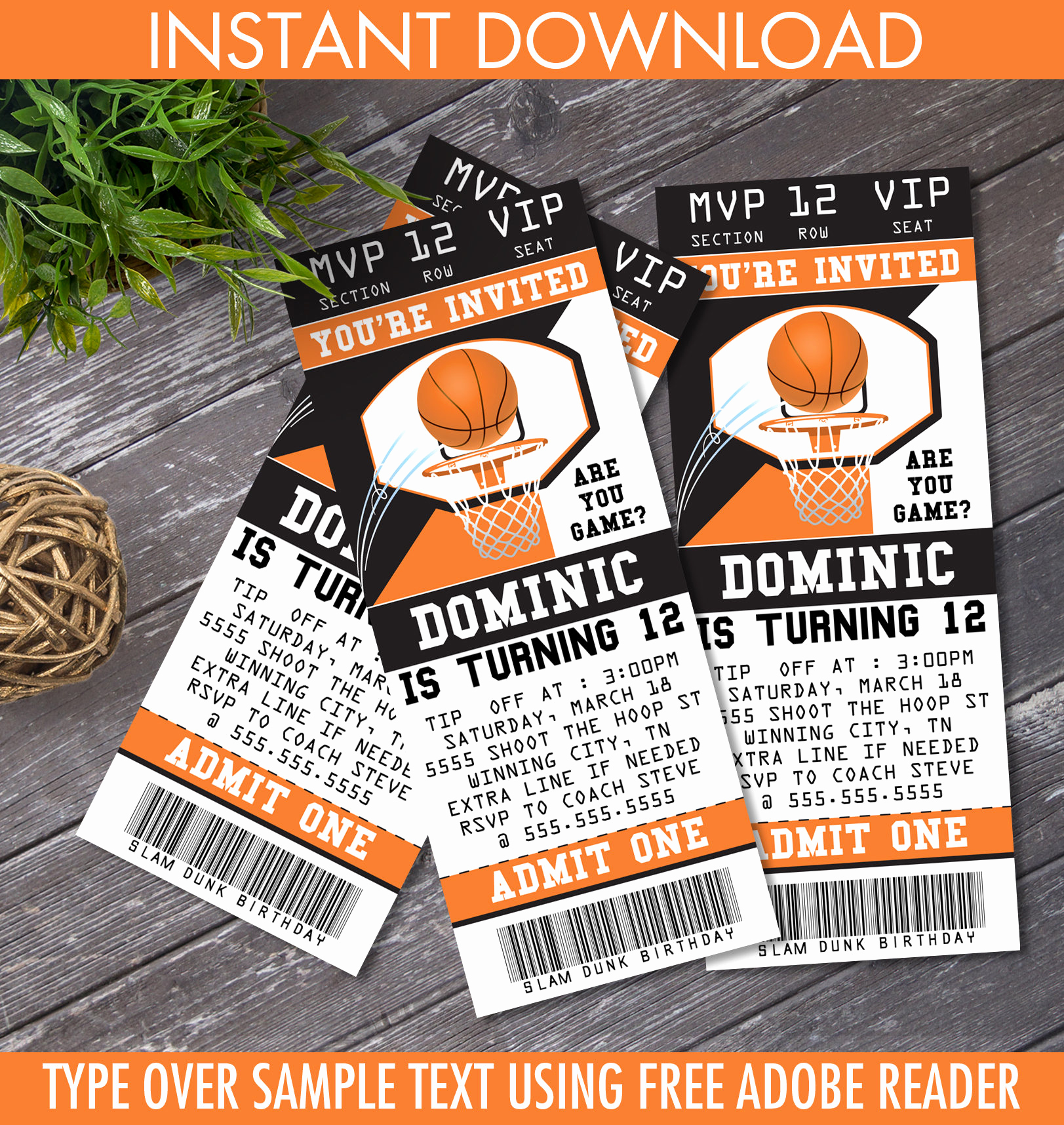 Basketball Ticket Invitation Template Free Elegant Basketball Ticket Invitation Basketball Birthday Party