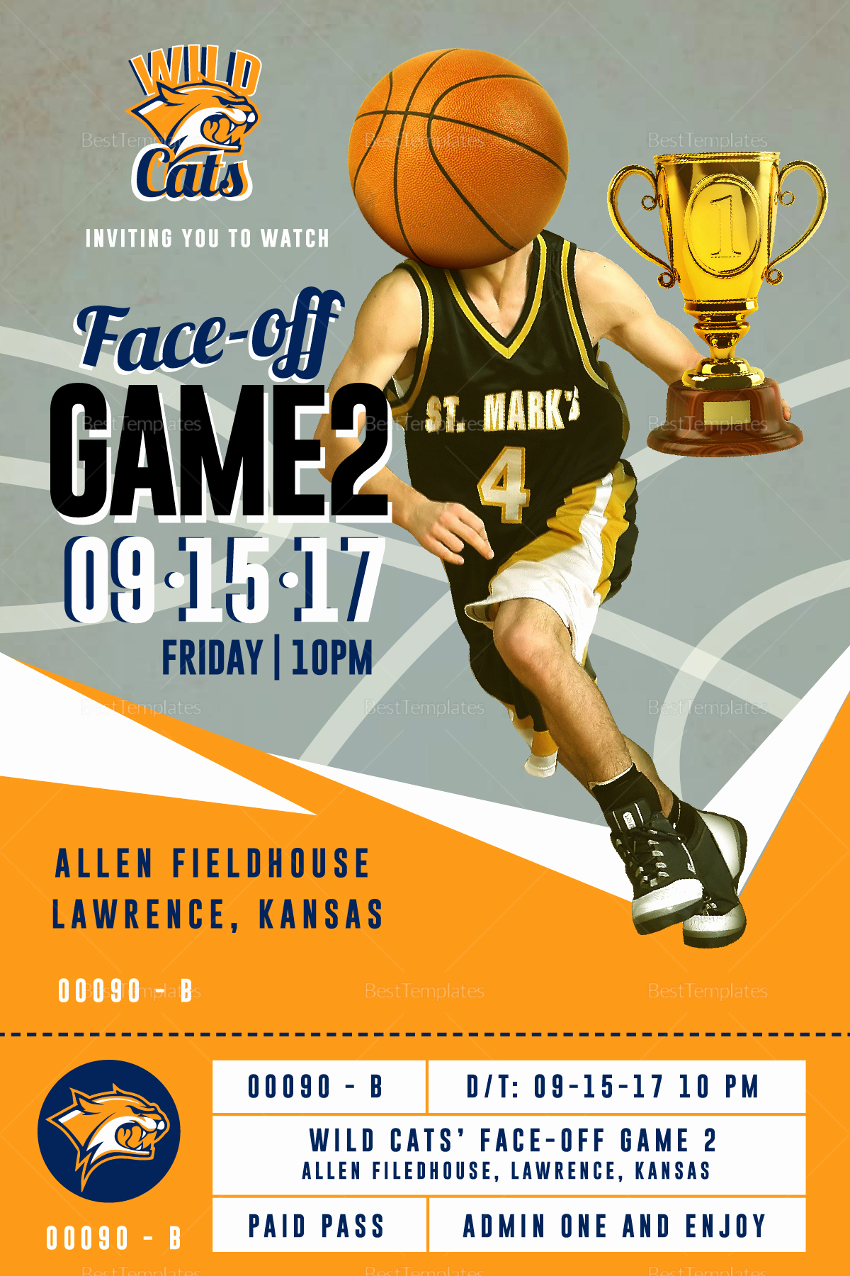 Basketball Ticket Invitation Template Free Lovely Basketball Ticket Invitation Card Design Template In Psd