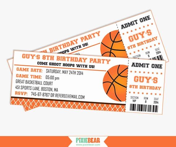 Basketball Ticket Invitation Template Free New Basketball Party Invitation Basketball Birthday by