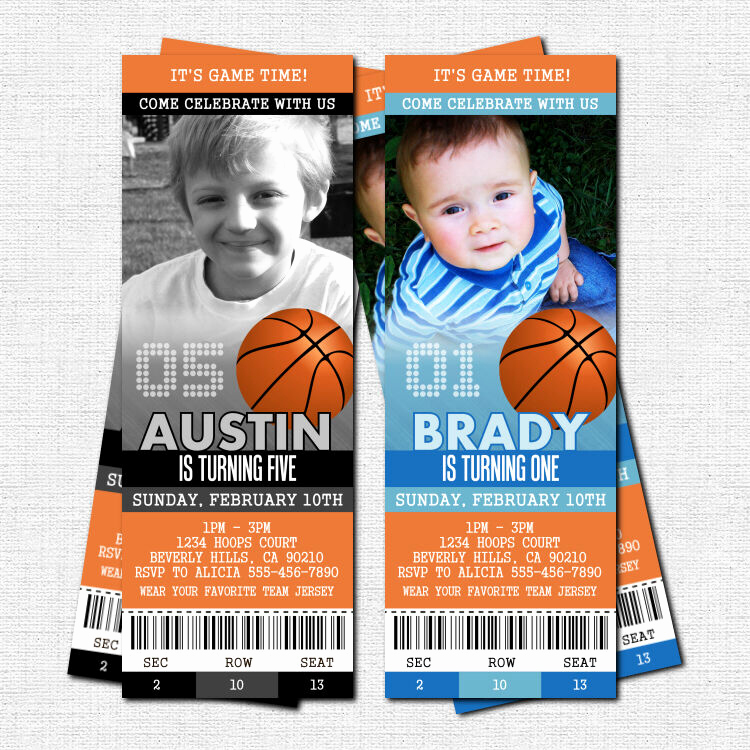 Basketball Ticket Invitation Template Free New Personalized Basketball Ticket Birthday Party Invitations