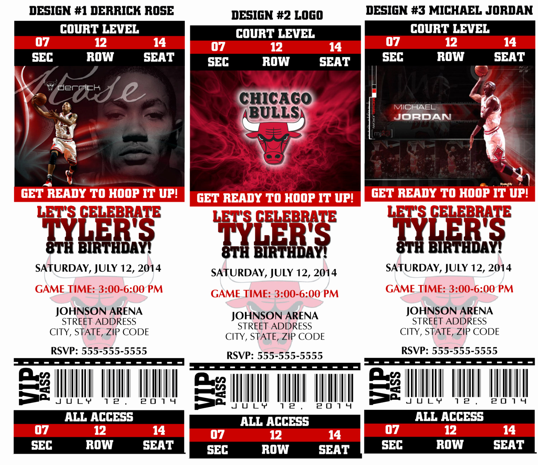 Basketball Ticket Invitation Template Free New Printable Birthday Party Invitation Chicago Bulls Birthday
