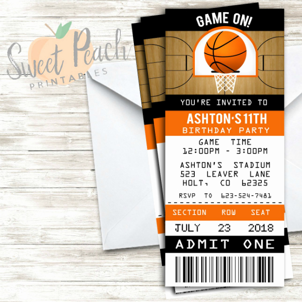 Basketball Ticket Invitation Template Free Unique 13 Basketball Ticket Invitation Card Designs & Templates