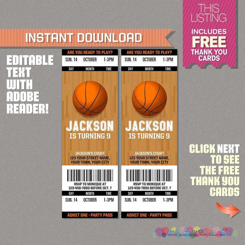 Basketball Ticket Invitation Template Fresh Basketball Ticket Invitation with Free Thank You Card