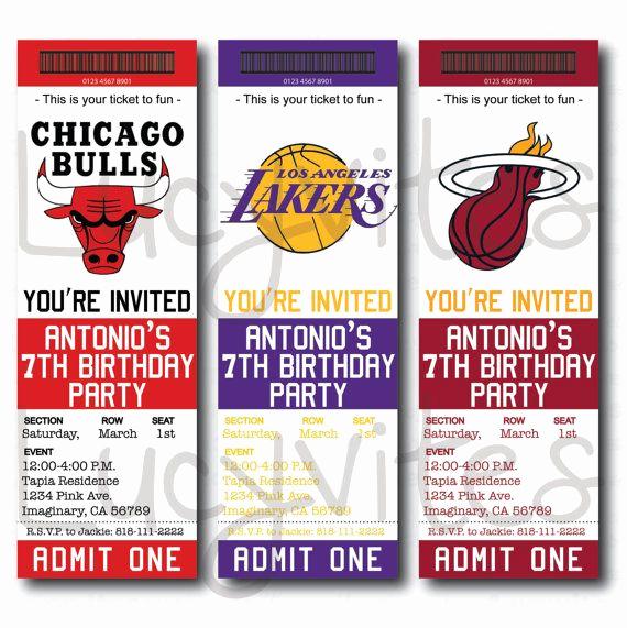 Basketball Ticket Invitation Template Fresh Basketball Ticket Stub Digital Invitation Any Team by