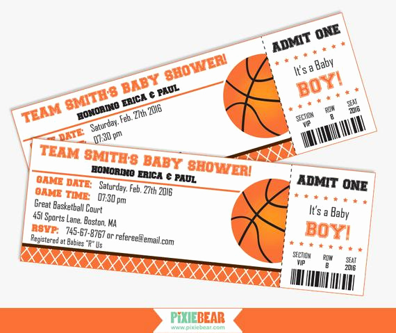 Basketball Ticket Invitation Template Inspirational Basketball Baby Shower Invitation Baby Shower by