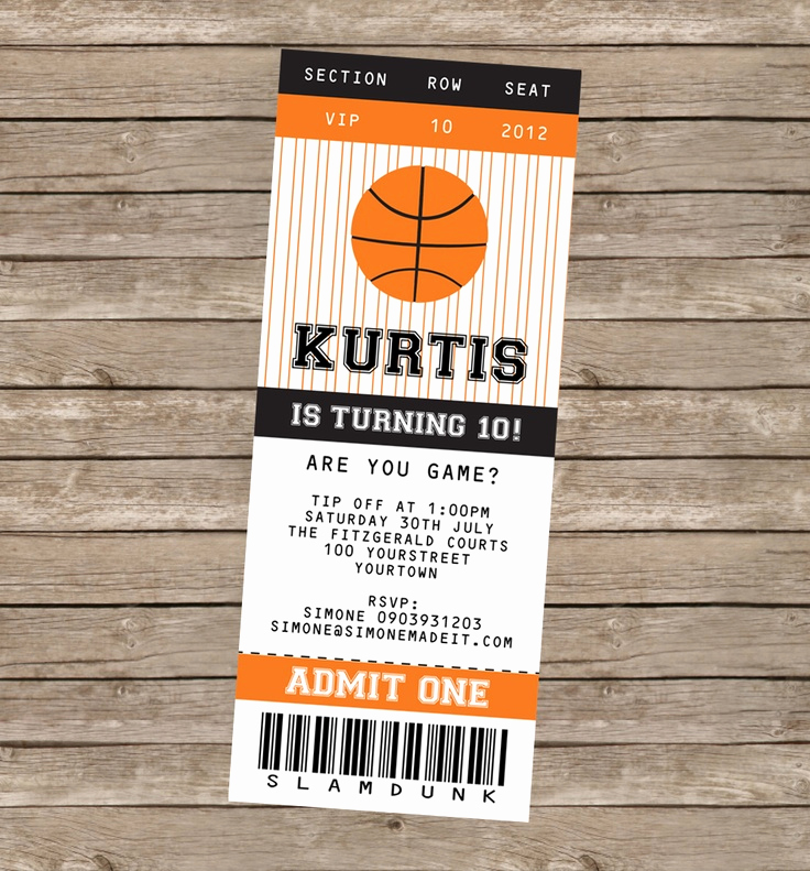 Basketball Ticket Invitation Template Lovely Basketball Party Printables Invitations & Decorations