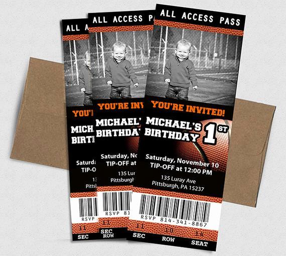 Basketball Ticket Invitation Template Lovely Basketball Ticket Birthday Invitation by Chelsileedesigns