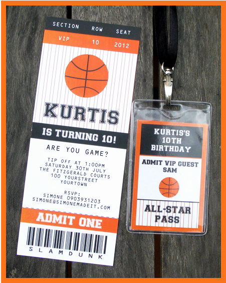 Basketball Ticket Invitation Template Lovely Basketball Ticket Invitation & Printable Party Collection