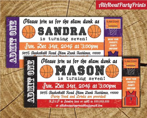 Basketball Ticket Invitation Template Luxury Old Vintage Basketball Birthday Ticket Invitation