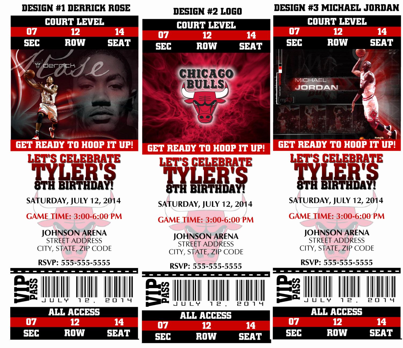 Basketball Ticket Invitation Template Luxury Printable Birthday Party Invitation Chicago Bulls Birthday