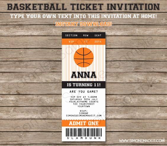 Basketball Ticket Invitation Template New Pinterest • the World's Catalog Of Ideas