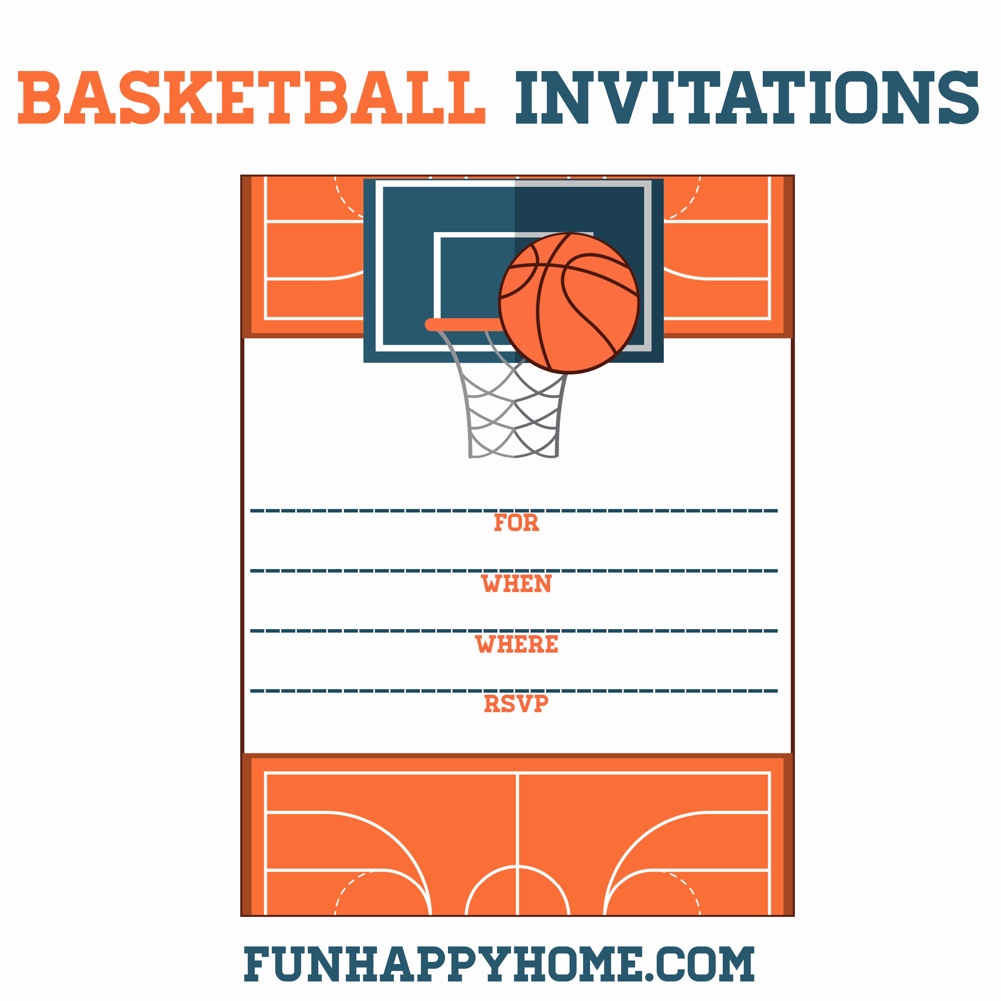 Basketball Ticket Invitation Template Unique Free Printable Basketball themed Party Invitations