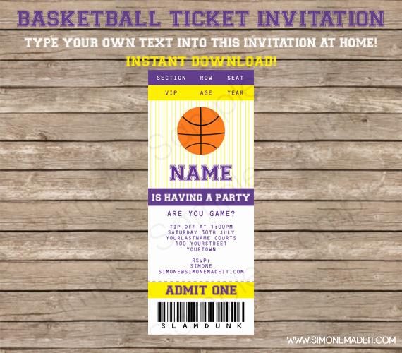 Basketball Ticket Invitation Template Unique Printable Basketball Party Invitation Template Purple