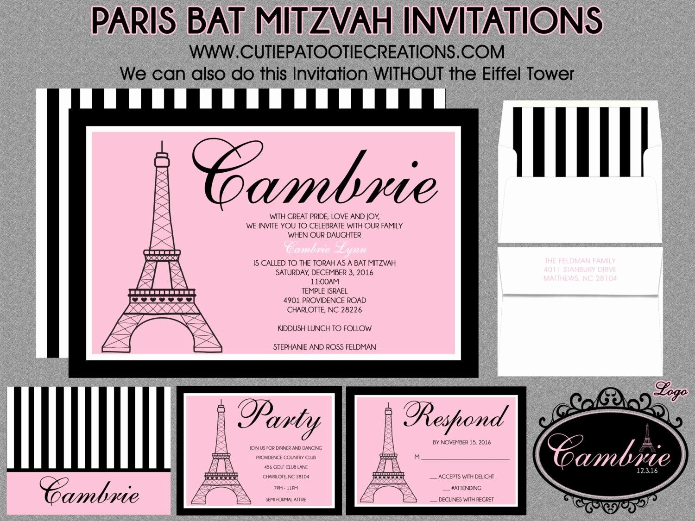 Bat Mitzvah Invitation Wording Awesome Bat Mitzvah Invitations Paris theme Eiffel tower Pink