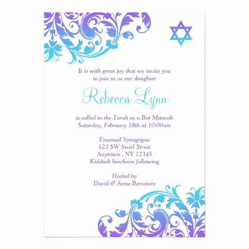 Bat Mitzvah Invitation Wording Best Of Elegant Purple Teal Flourish Bat Mitzvah Personalized