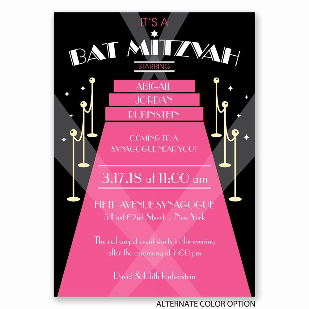 Bat Mitzvah Invitation Wording Best Of Red Carpet Bat Mitzvah Invitation