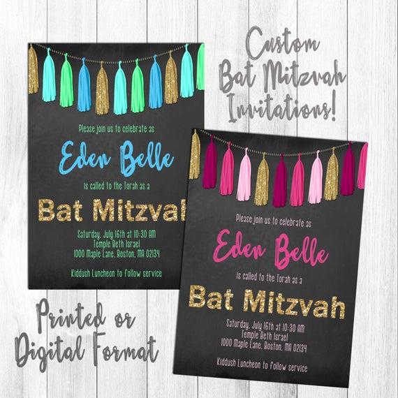Bat Mitzvah Invitation Wording Lovely Custom Glitzy Bat Mitzvah Invitation