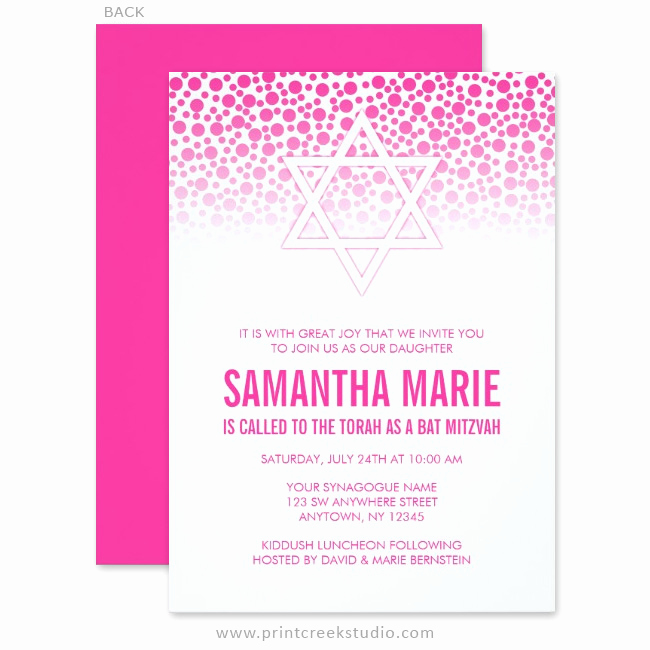 Bat Mitzvah Invitation Wording Luxury Confetti Dots Hot Pink Bat Mitzvah Invitations Print
