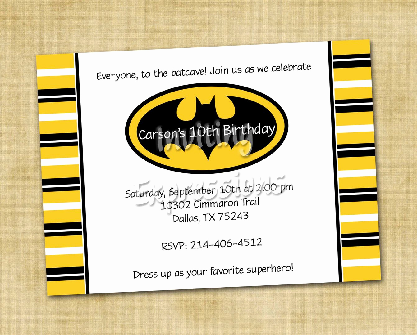 Batman Birthday Invitation Templates Beautiful Batman Stripes Boy Birthday Party Invitations