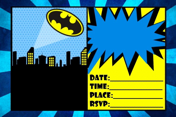Batman Birthday Invitation Templates Beautiful Free 4x6 Size Batman Birthday Invitation Printable