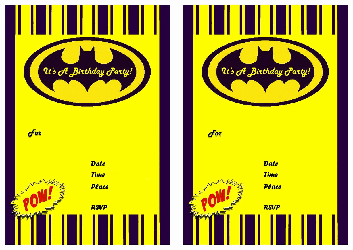 Batman Birthday Invitation Templates Beautiful Free Batman Invitation Blanks