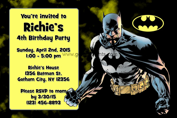 Batman Birthday Invitation Templates Fresh Batman Invitations General Prints