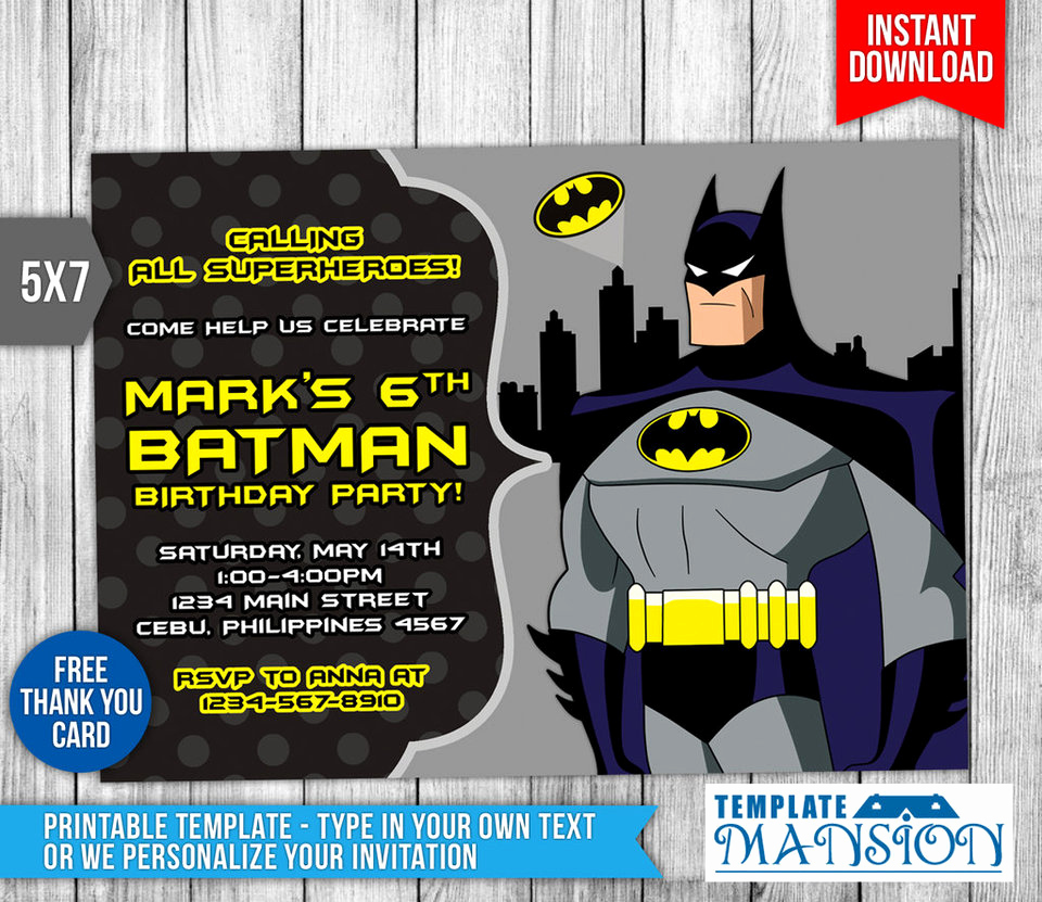 Batman Birthday Invitation Templates Lovely Batman Invitation Batman Birthday Invitation Psd by