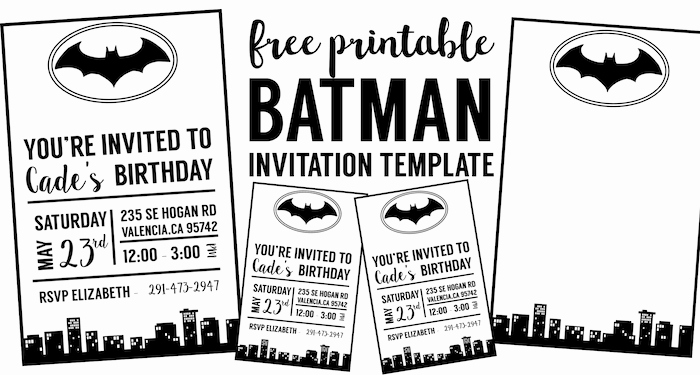 Batman Birthday Invitation Templates Luxury Free Batman Invitation Template Paper Trail Design