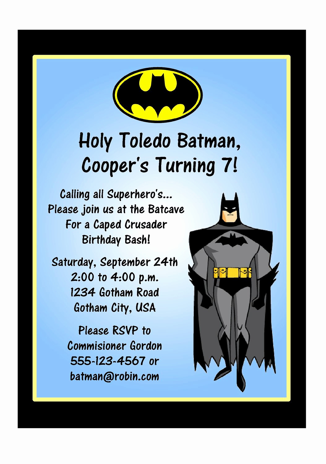 Batman Birthday Invitation Templates New Batman Birthday Invitation Wording