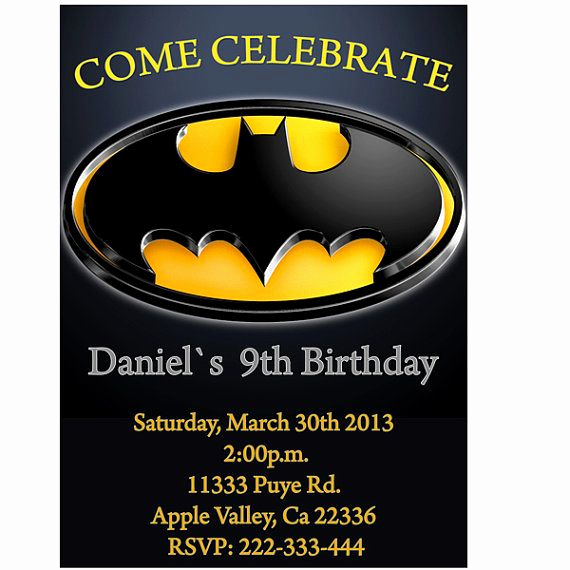 Batman Birthday Invitation Templates Unique Batman Birthday Party Invitation Printable by Lululola2022