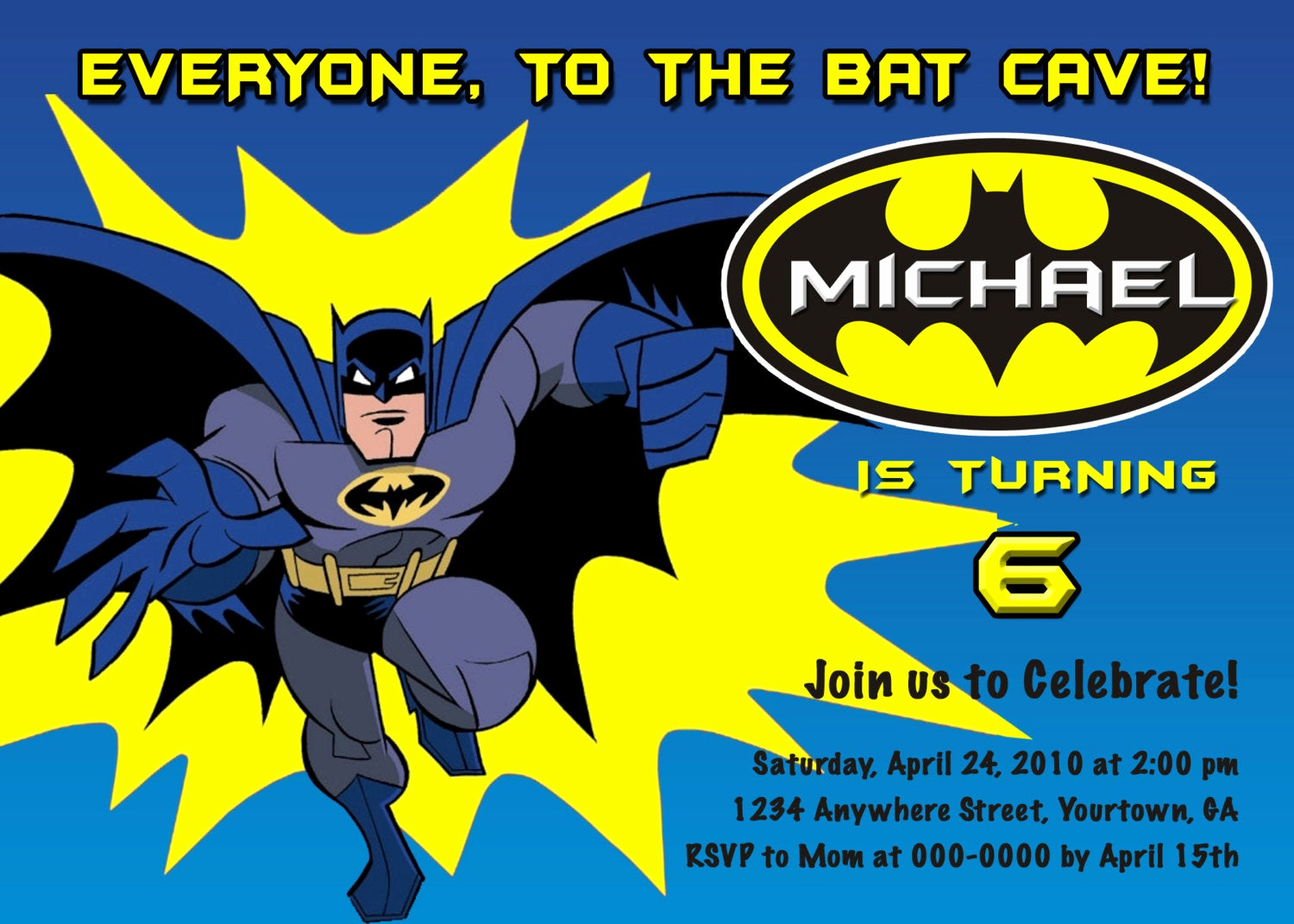 Batman Birthday Invitation Templates Unique Batman Personalized Birthday Invitations You by
