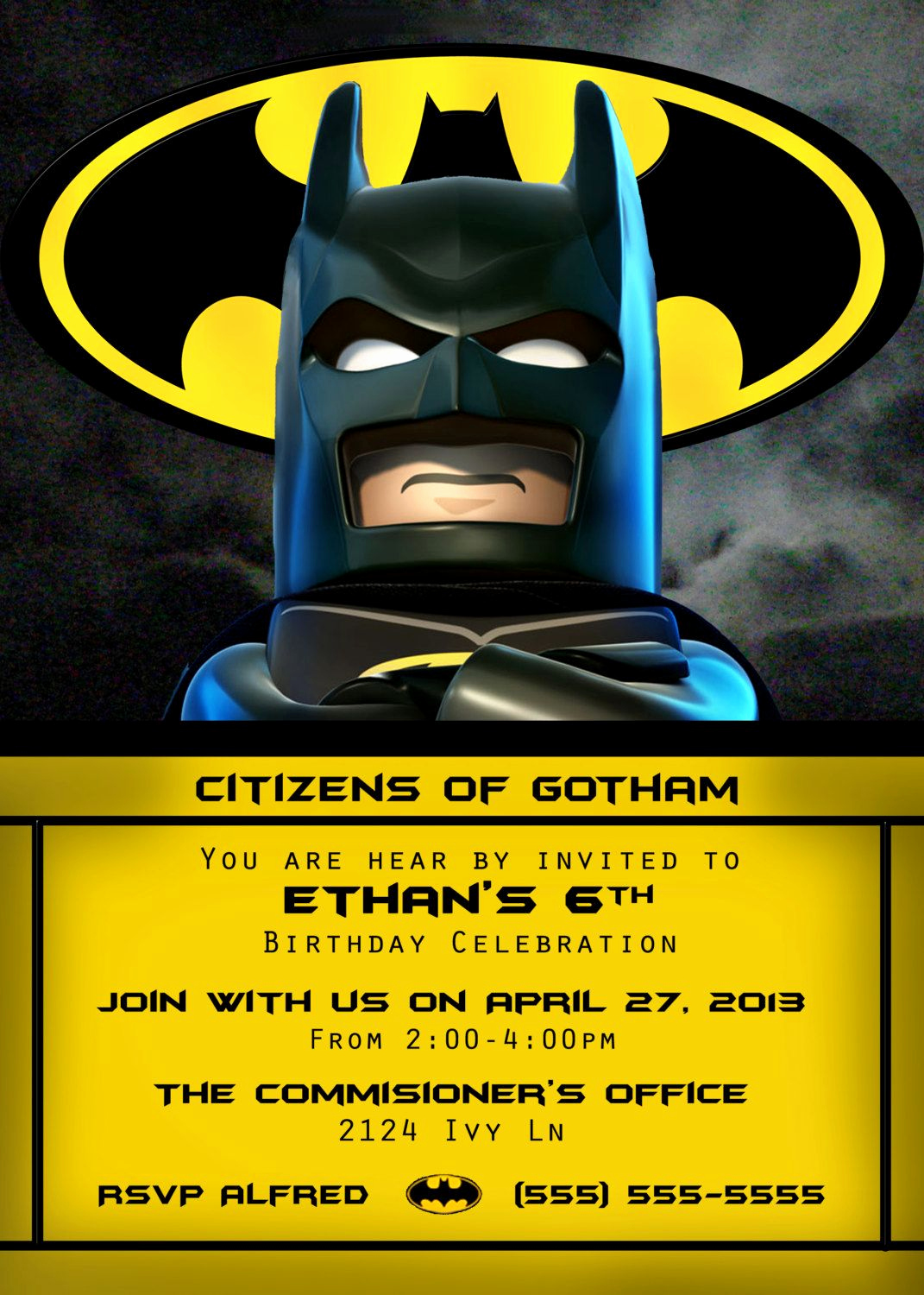 Batman Birthday Invitation Templates Unique Lego Batman Invitation 4x6 or 5x7 by orchidaveprintables