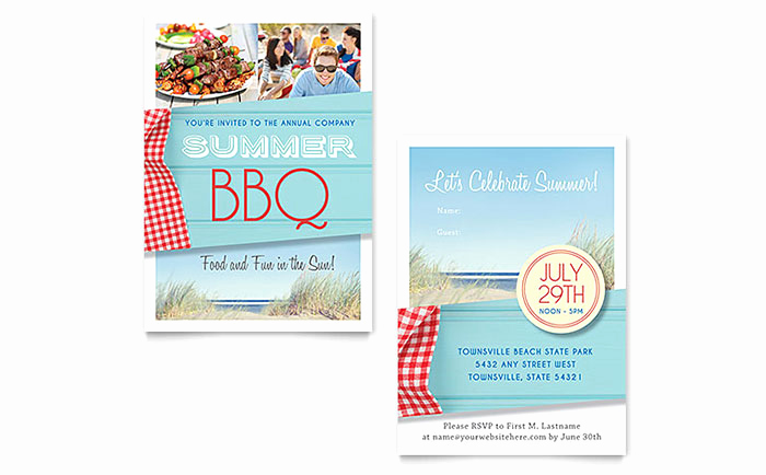 Bbq Invitation Template Word Beautiful Summer Bbq Invitation Template Word & Publisher