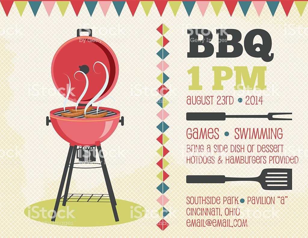 Bbq Invitation Template Word Elegant Retro Bbq Invitation Template Stock Illustration